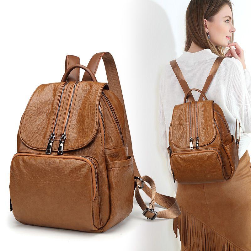 genuine leather backpacks ladies casual vintage Cowhide travel backpack leatherBackpack women girl bags Mochila Feminina C415