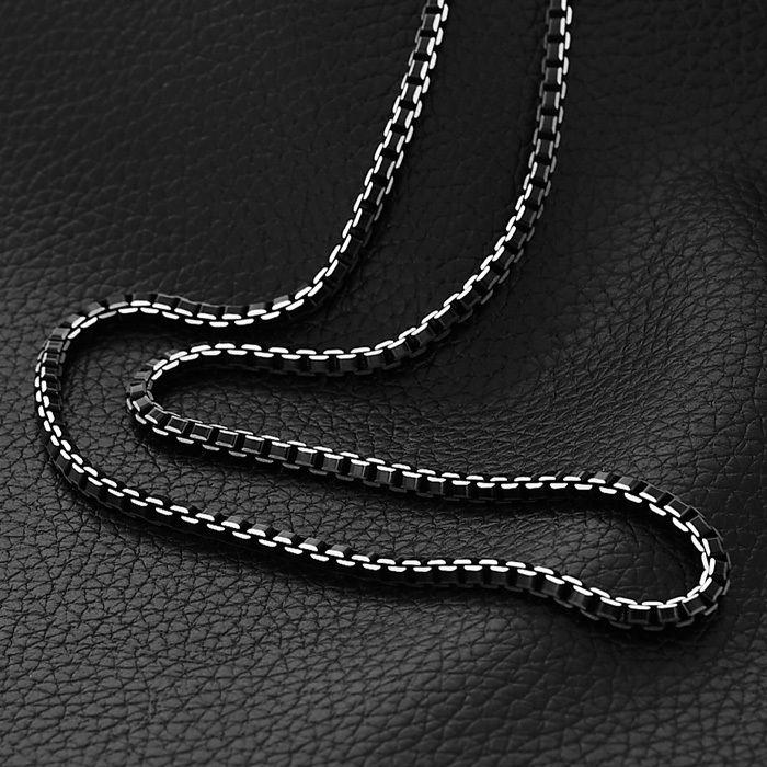 Collare Chaude À La Mode Boîte Lien Chaîne Hommes Bijoux Partie Noir Couleur Mode Bijoux En Acier Inoxydable 316L Collier Hommes Cadeau N511