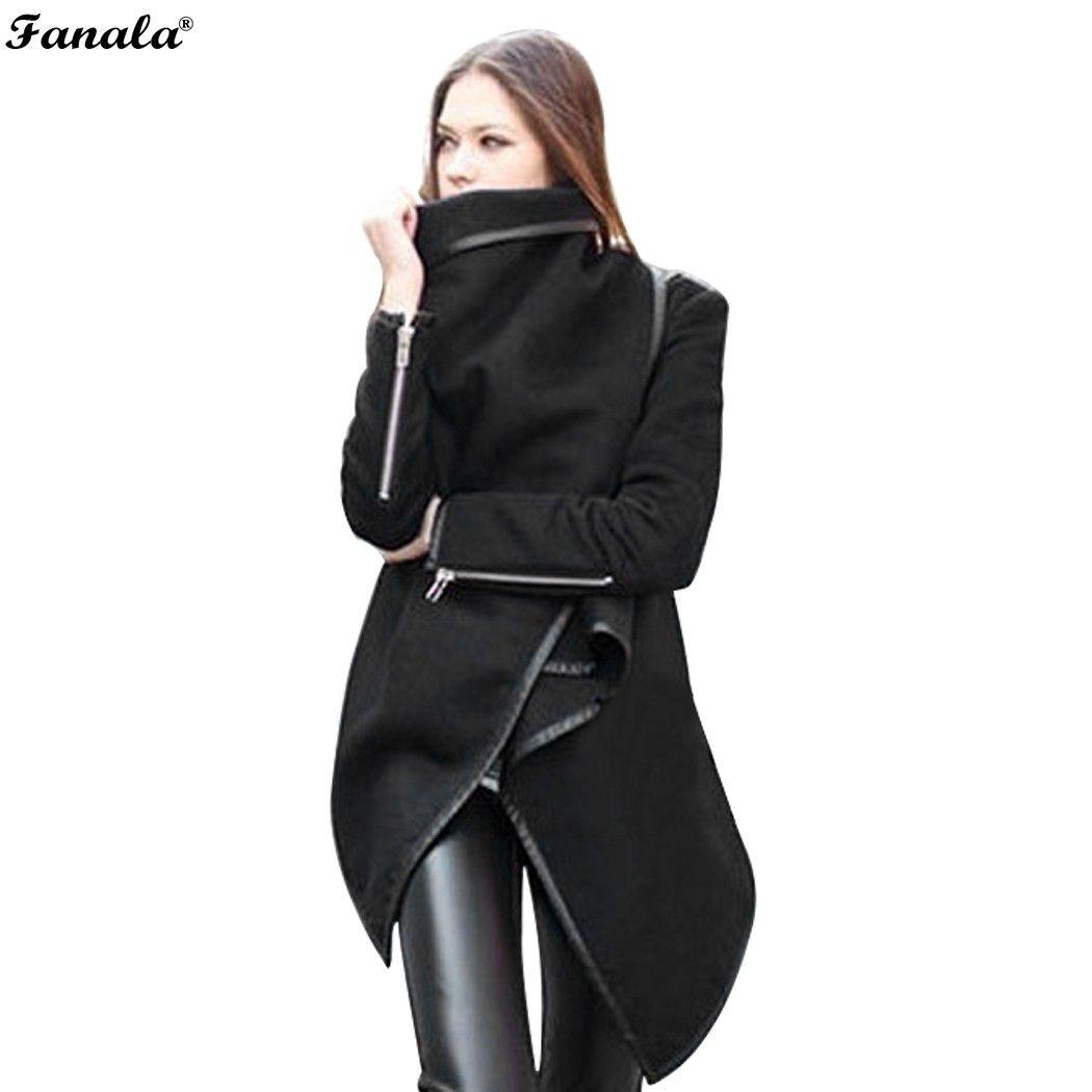 FANALA Escudo 2018 Chaqueta de Las Mujeres Negro Moda de Manga Larga Primavera Elegante Irregular Capa Outwear Mujer Abrigo de Lana de Invierno #50