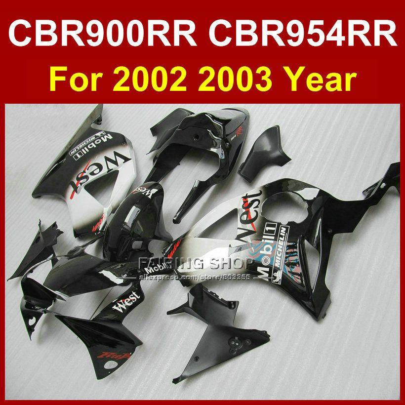 Custom Motorcycle injection fairing kit for HONDA CBR 900RR 02 03 CBR954 RR 2002 2003 CBR 954RR black west aftermarket fairings