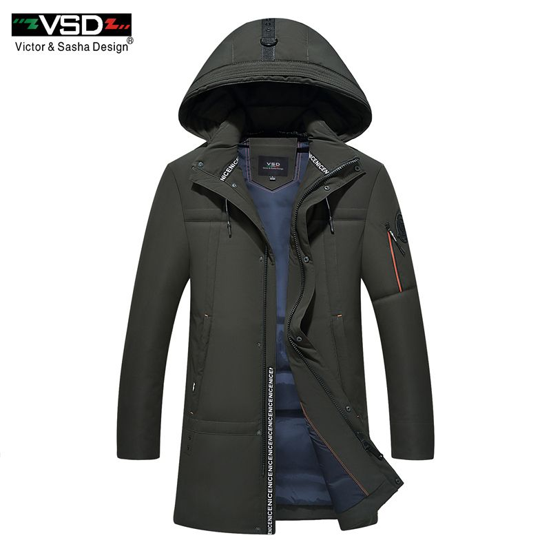 VSD New 90% White Duck Down Quality Handsome Warm Long Fashion Overcoat Winter Jacket Men's Clothing Casual Coat Men Parka VS001