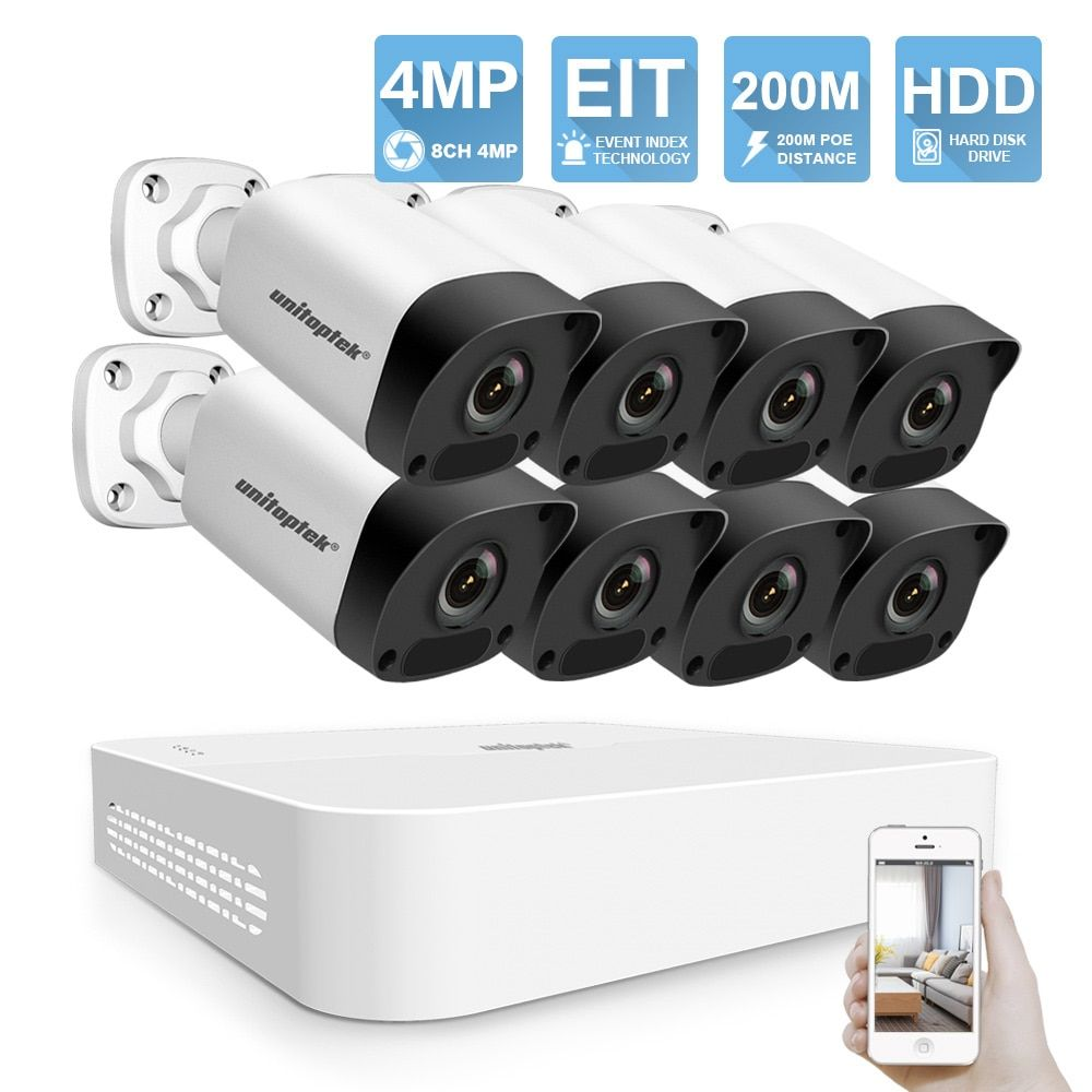 H.265 HD 8CH 4MP POE IP Kamera NVR Kit Wasserdichte IP67 CCTV Kamera System 200M POE Abstand 52V video Überwachung System Set