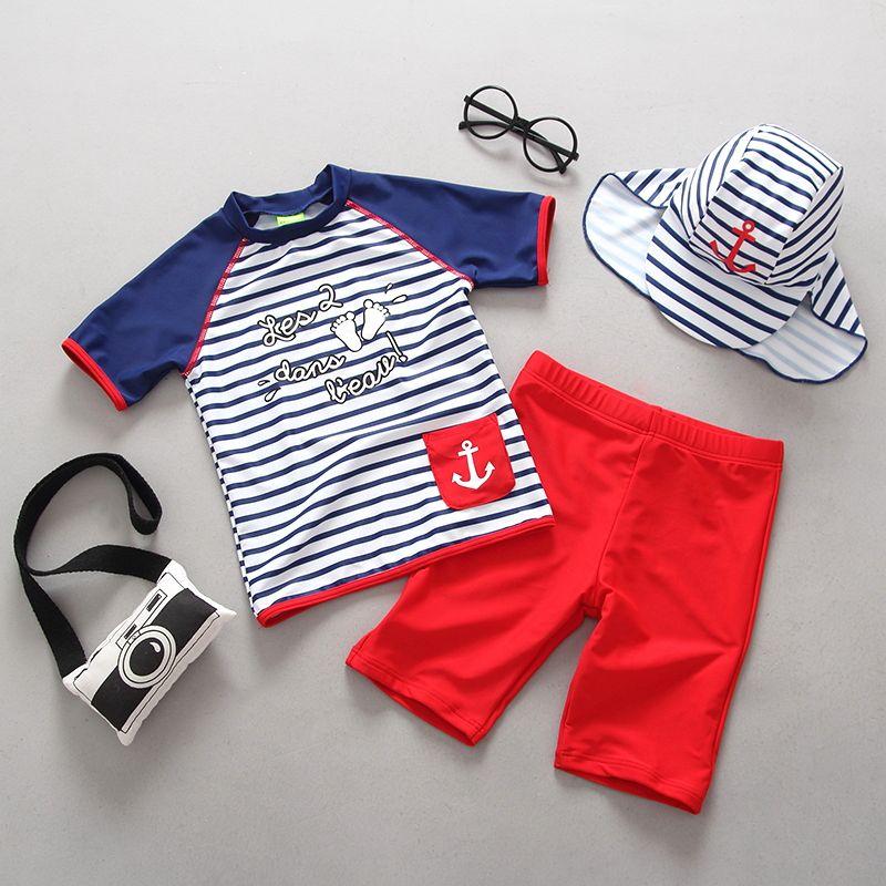 Jungen Badeanzüge für Kinder Sport Bademode Zwei Stücke Trennen Baden Badeanzug Sommer Strand Kinder Junge Sonnencreme Schwimmen Anzug