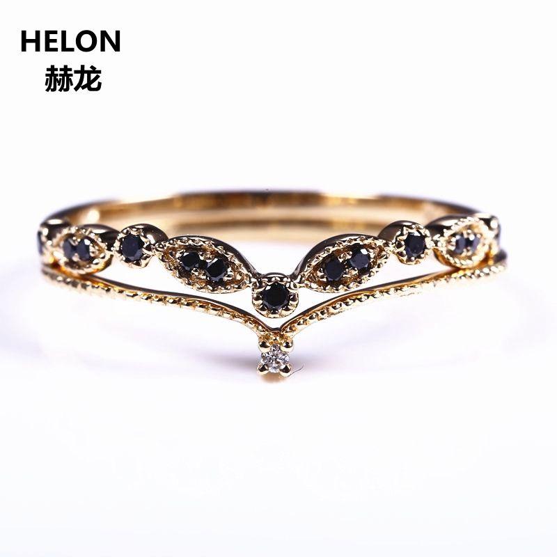 Two Rings Solid 14k Yellow Gold White Black Natural Diamond Engagement Wedding Ring Set Women Band V Shape Thin Cute Romantic