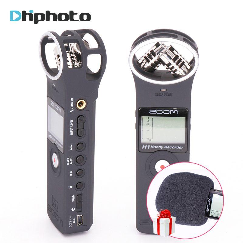 Оригинал Zoom H1 диктофон портативный рекордер цифровой Регистраторы pocket stereo x/y интервью микрофон, vlogging видео микрофон c microSD-карты 2 Гб,Отлично...