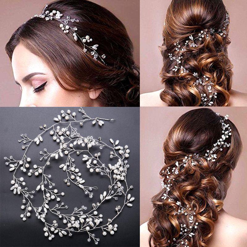 Gorgeous Bridal Hair Vine Rhinestone Pearl Long Hairpiece Headband Wedding Headpieces Bridal Hair Jewelry Wedding Hair Accessory
