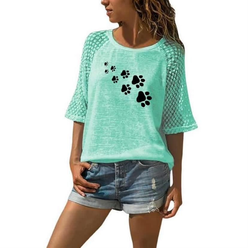 New Fashion T-Shirt For Women Lace Crew Neck T-Shirt DOG PAW Letters Print T-Shirt Women Tops Summer Graphic Tees Streetwear