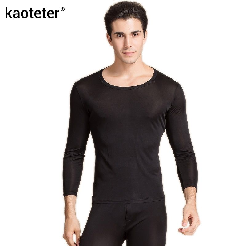 100% reiner Seide Hohe Qualität Männer Lange Unterhosen Elastische O Neck Unterwäsche Set Antibakterielle Atmungs Komfortable Herbst Winter Anzüge