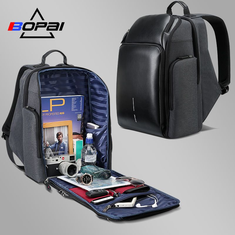 BOPAI University Students School Backpack Stylish Leather Laptop Backpack Waterproof Men Large Branded Backpack Travel Bags