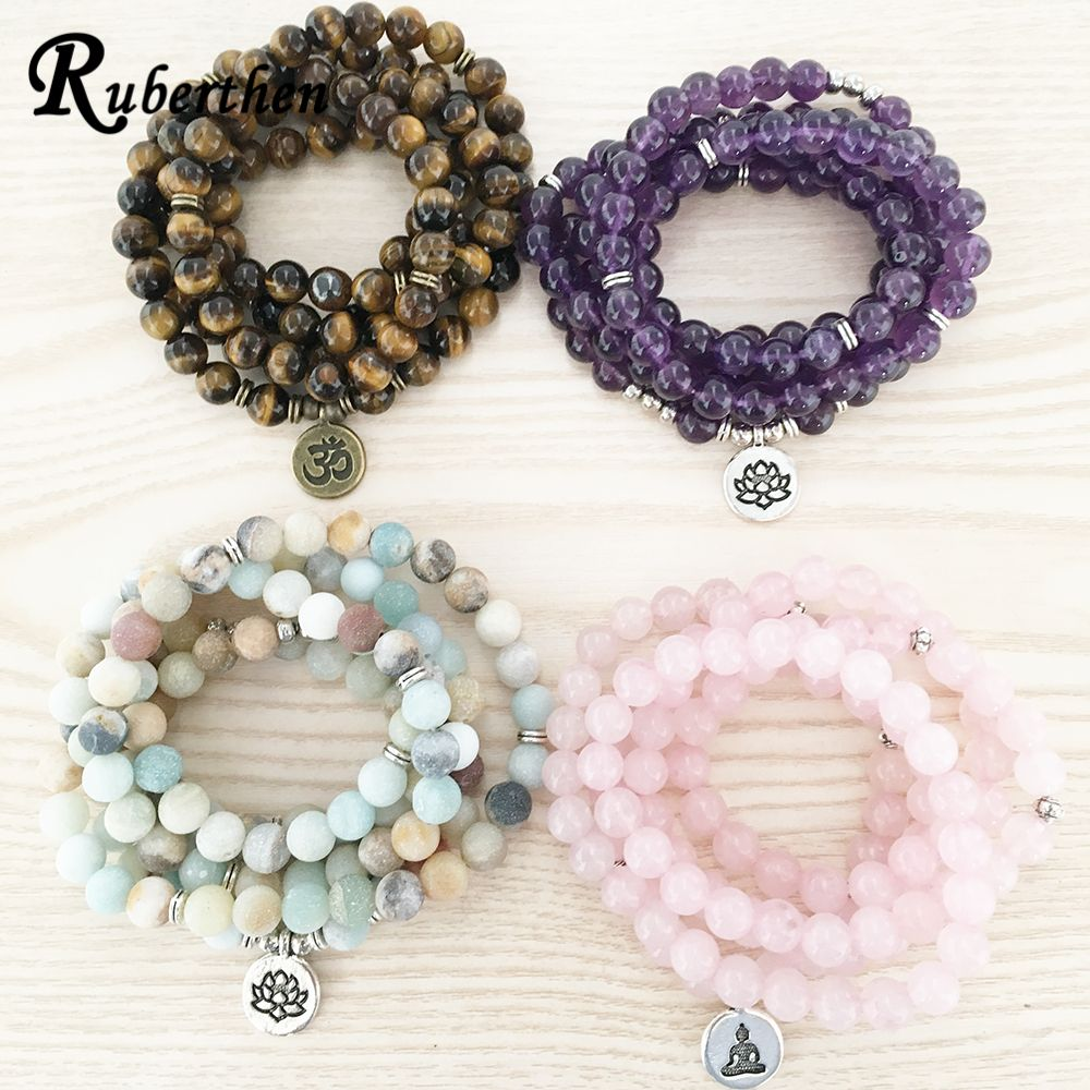 Ruberthen High Quantity Natural Stone Bracelet 108 Mala Yoga Necklace Matte Amazonite S Jewelry Hot Sale 2018 Drop Shipping