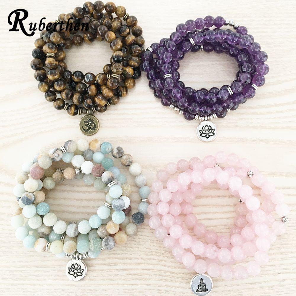 Ruberthen haute quantité Bracelet en pierre naturelle 108 Mala Yoga collier mat Amazonite S bijoux offre spéciale 2018 livraison directe