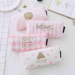 Kawaii Pencil Case for girls Canvas Pen Box for school Pink Pen bag Cute Dot Stripe Pencilcase Korean Stationery School Supplies