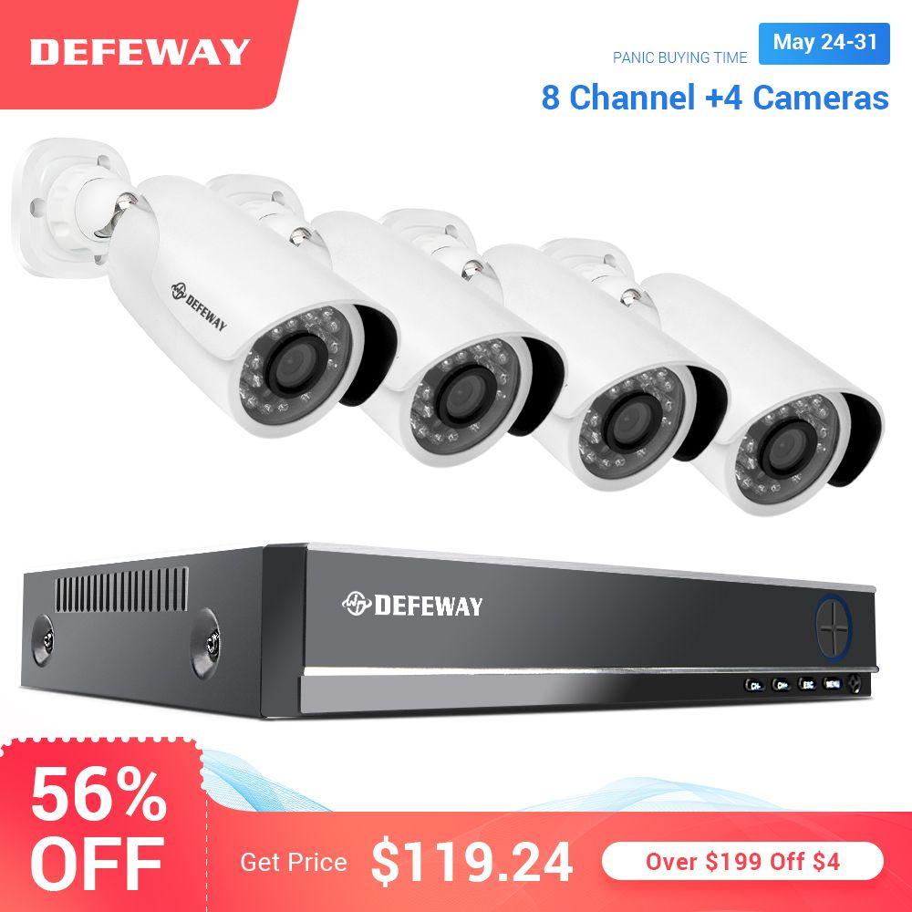 Defeway Video Überwachung 1080 P HD 8 CH CCTV System 2000TVL Outdoor Wetter Sicherheit Kameras 4 PCS CCTV Kamera für hause