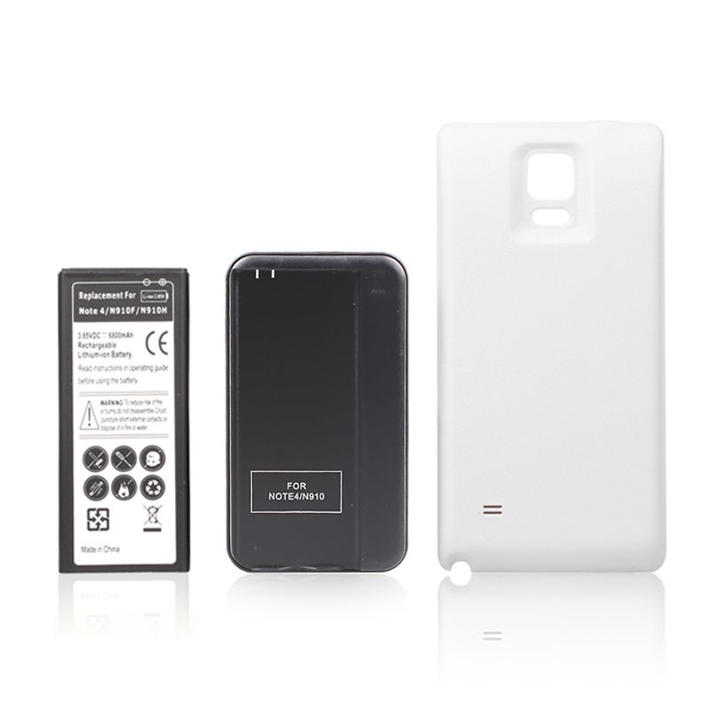 White Extended High Power 6800mah Battery + Wall Charger + Back Cover Case for Samsung Note IV 4 Note4 N9100 N910F N910H N910