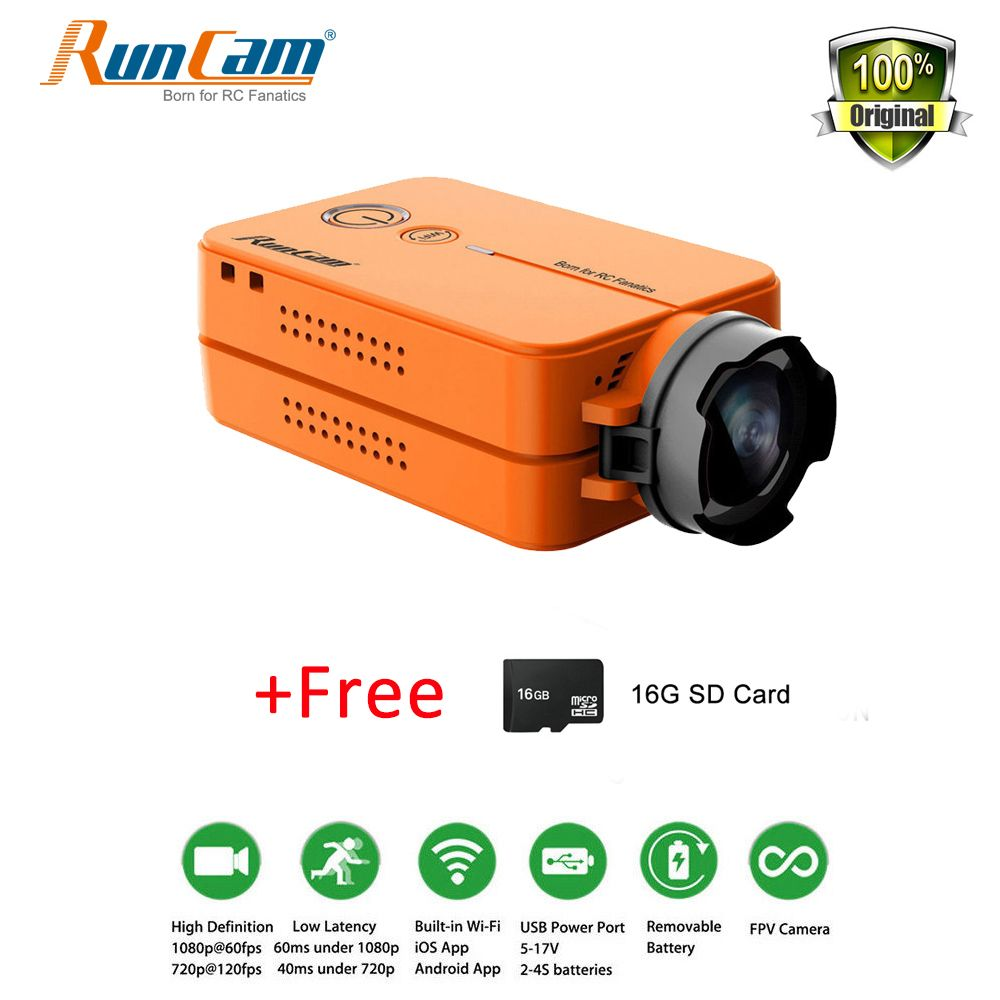 RunCam 2 RunCam2 Ultra HD 1080P 120 Free 16G SD Wide Angle WiFi link Camcorder FPV Camera For QAV210 Quadcopter Racing Drone RC