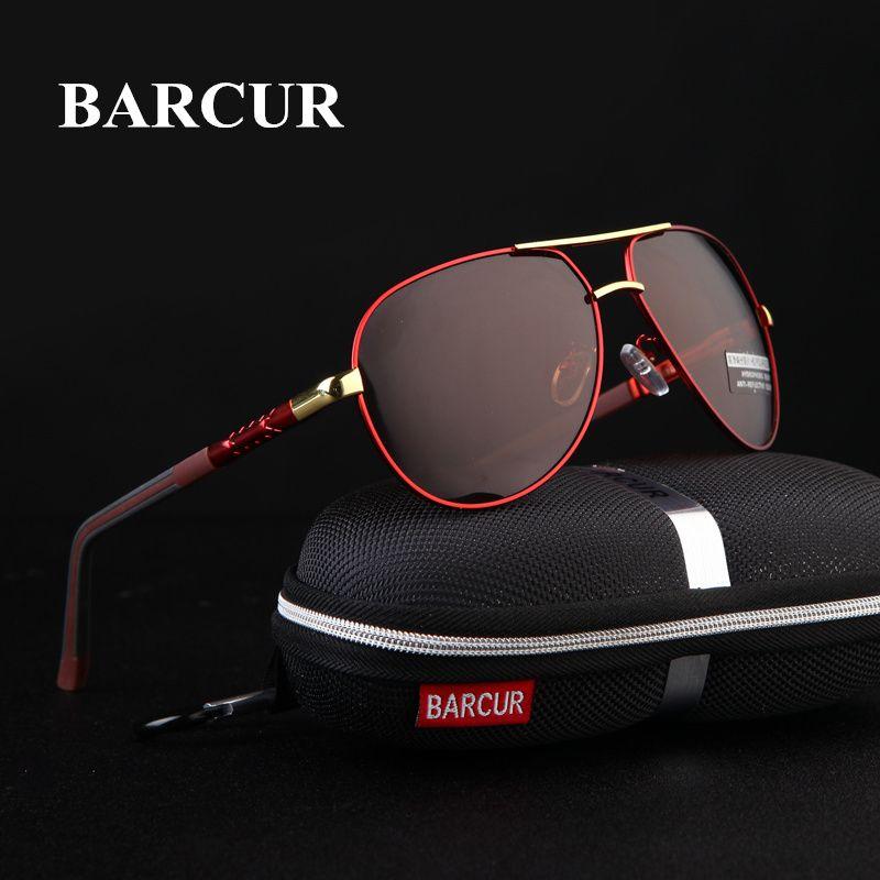 BARCUR aluminium magnésium hommes lunettes de soleil hommes revêtement polarisé miroir lunettes oculos mâle accessoires lunettes pour hommes