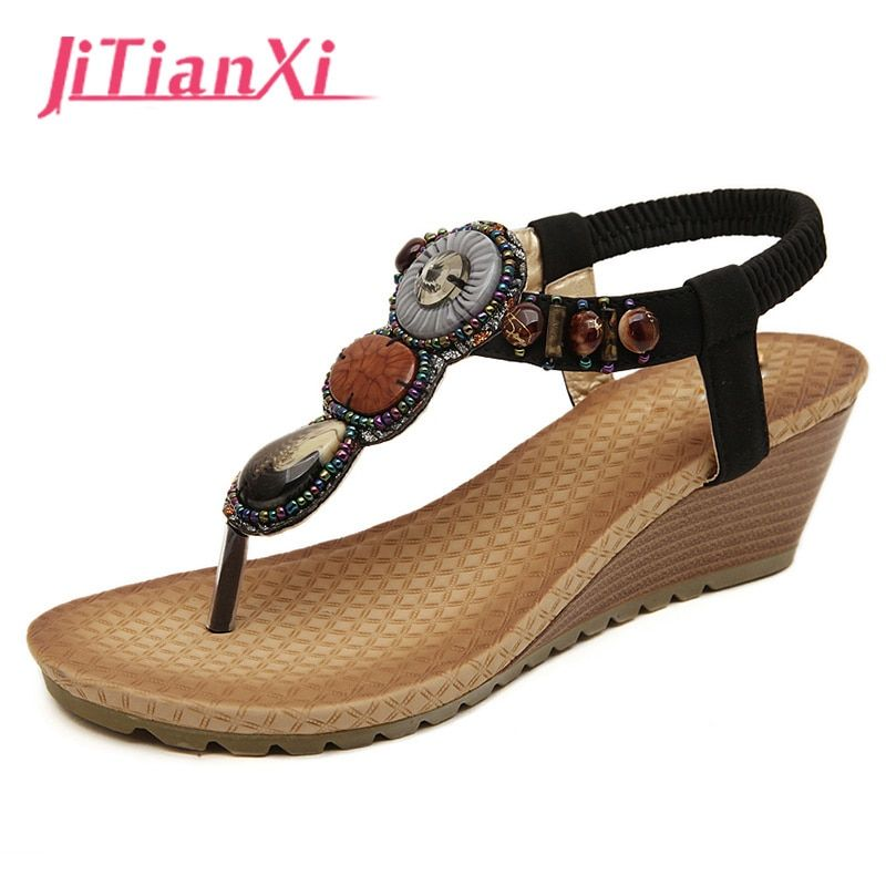 Summer Women Sandals Gladiator Bohemia High Platform Wedges Beach Sandal Flip Flops Casual Shoes Sandals Women 2018