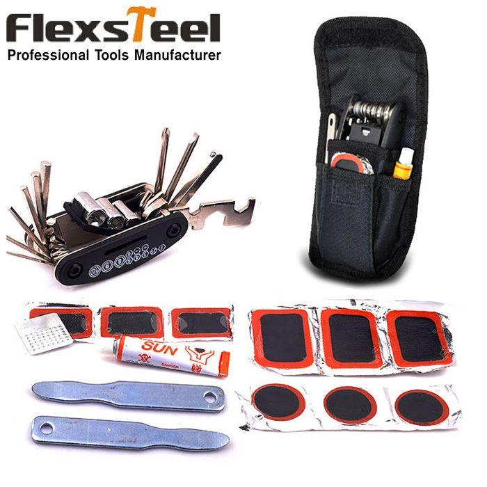 Kit de réparation de vélo VTT multi-usages tout en un Kit d'outils avec clé à douille