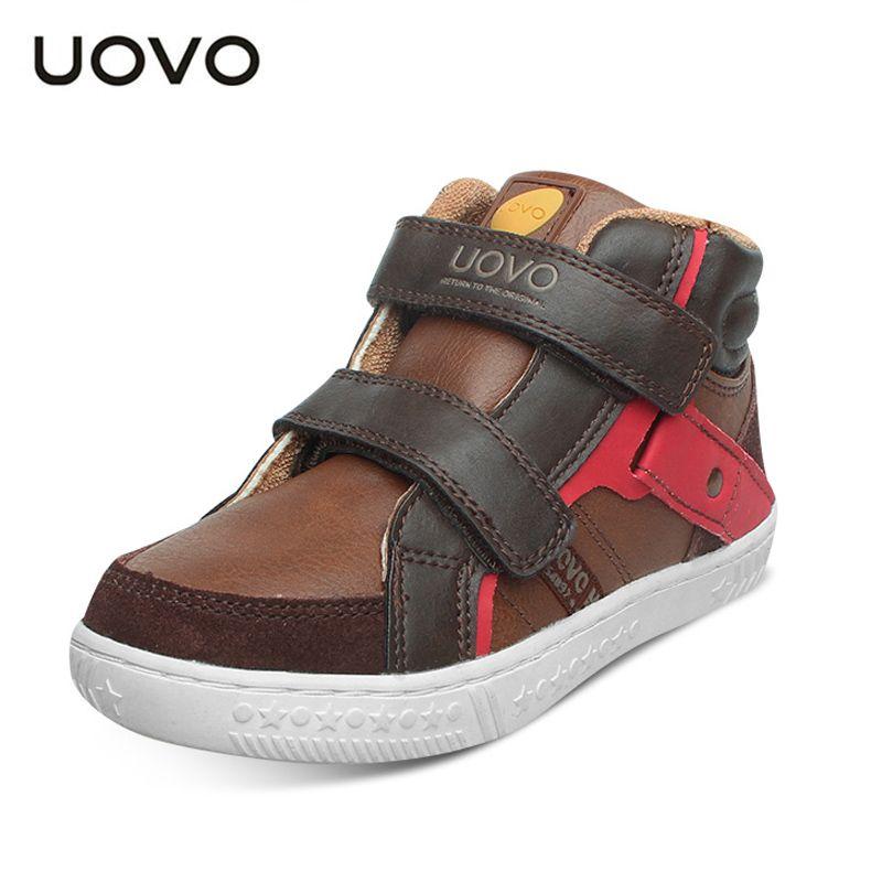 Uovo осень 2017 г. обувь для детей мальчиков кроссовки крюк и петля, модные спортивные кроссовки Резиновые детские школьная обувь Размеры 27 #-37 #