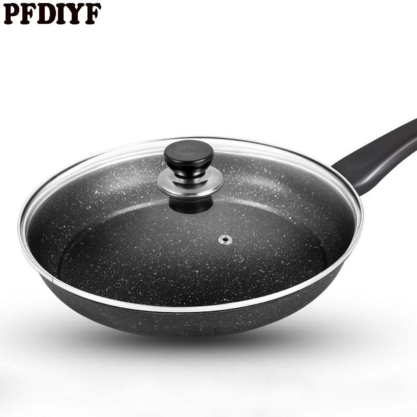 PFDIYF 26 cm Non-Stick Bratpfanne Spiegelei Steak Pfanne Grill Pan Maifan Stein Braten Pfannen Kochen Helfer mit deckel & Ohne deckel