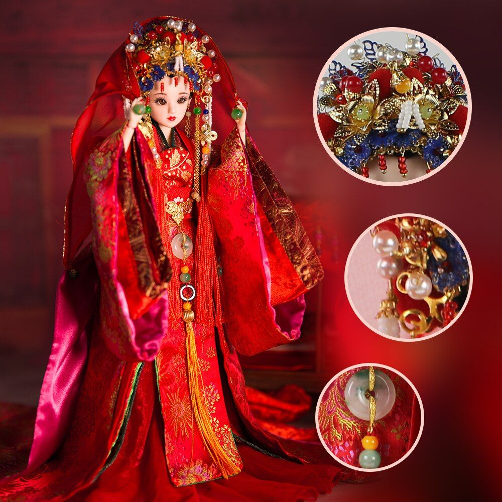 Fortune Days East Charm ancient costume doll 1/6 like BJD Blyth dolls Song Dynasty Bride with makeup wedding High Quality gift
