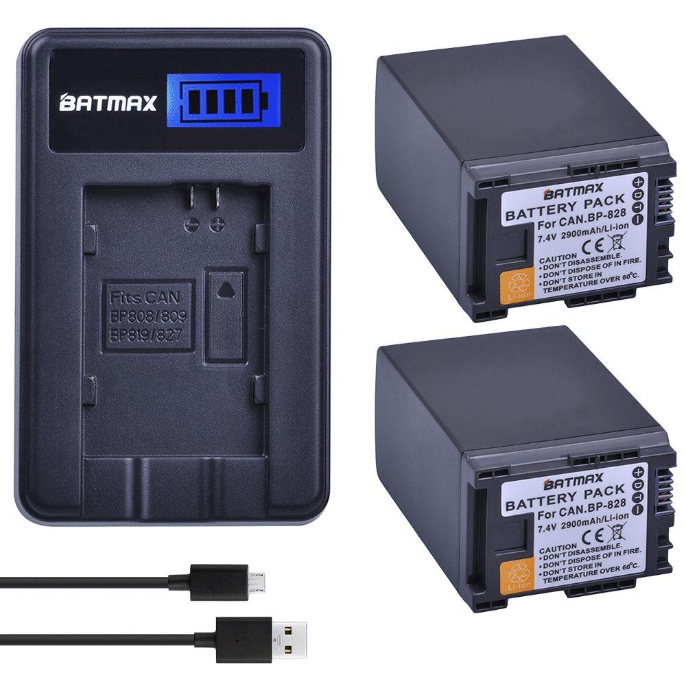 2 Stücke 2900 mAh BP-828 BP 828 BP828 Li-Ion Batterien + LCD USB Ladegerät für Canon LEGRIA GX10 HFS30 HF20 HG20 G30 G40 XA20 XA25 HFM300