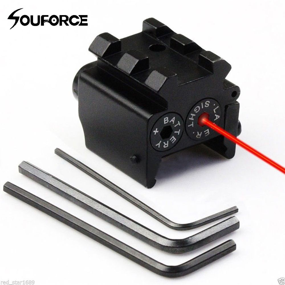 Mini Adjustable Compact Red Dot Laser Sight With Detachable Picatinny 20mm Rail For Pistol Air-gun Rifle Hunting Accessious
