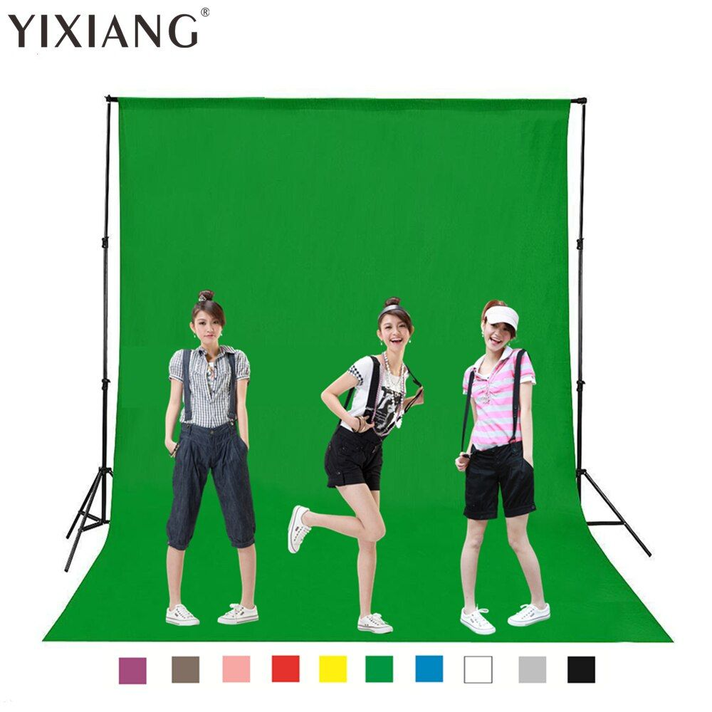 YIXIANG 4m Green Color Cotton Non-pollutant Textile Muslin Photo Backgrounds Studio Photography Screen Chromakey Backdrop Cloth
