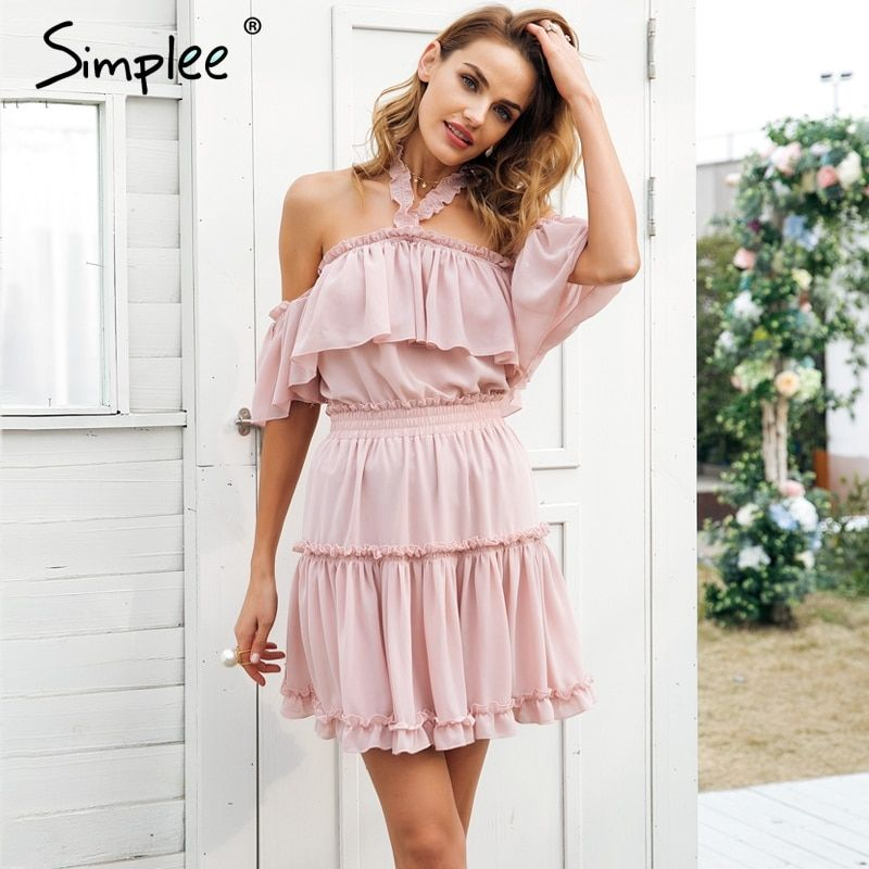 Simplee Halter off shoulder summer dress women Ruffle backless high wasit chiffon dress Casual pink short dress female vestidos