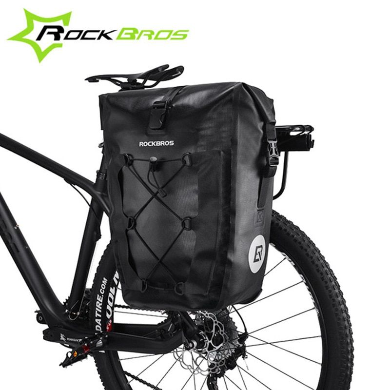 ROCKBROS Waterproof Bicycle Bag 27L Travel Cycling Bike Bag Rear Rack Tail Seat Trunk Bags Pannier MTB Mountain Bike Accessories