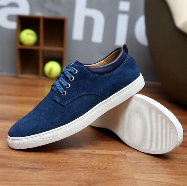 Men Casual Shoes Genuine Leather Sneakers Lace Up AS02-17 Flats Suede Sneakers Men Leather Shoes Summer Plus Size 36-44