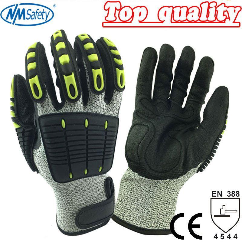 NMSafety gant de sécurité Anti-Vibration résistant à l'huile niveau de coupe 5 doublure en Nylon Fluorescent mécanique Anti-choc gant de travail résistant aux coupures