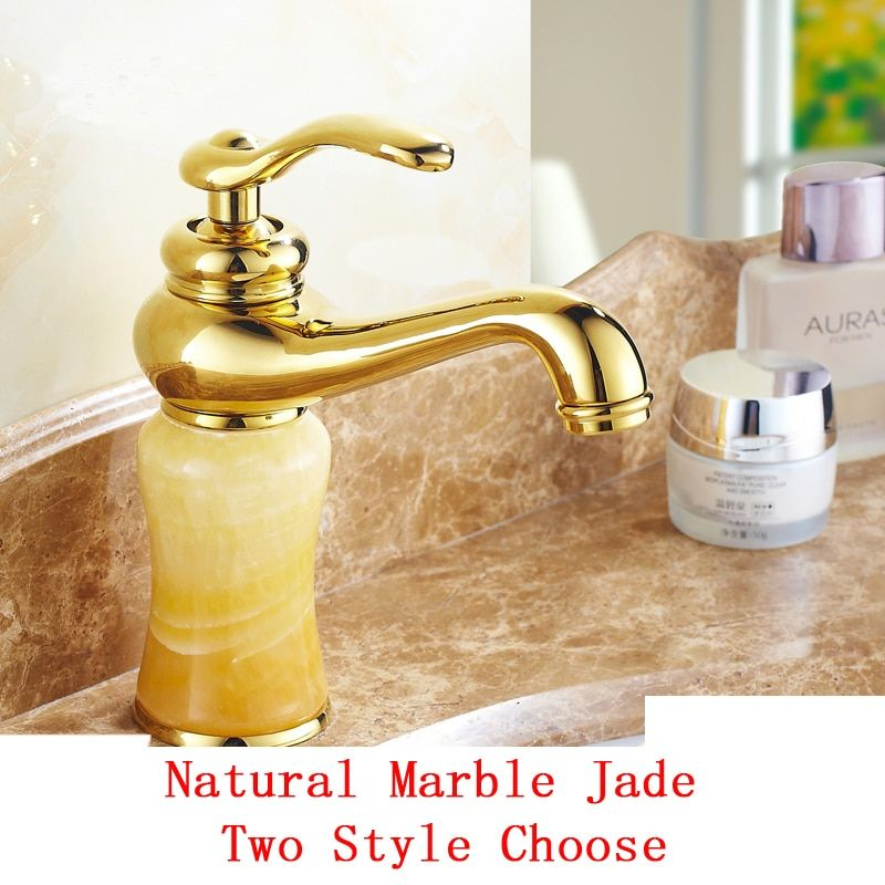 European antique basin faucet mixer water tap hot and cold faucets gold plated, Yellow and white jade bathroom sink basin faucet
