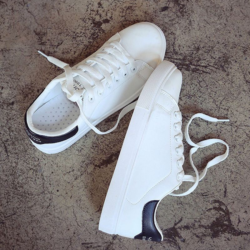 Hot 2018 Women Sneakers Breathable Sport Shoes Female Running Shoes Light Sneakers For Women Shoes PU leather white Trainers