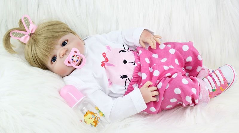 NPKCOLLECTION 55cm Full Silicone <font><b>Body</b></font> Reborn Girl Baby Doll Toys Newborn Princess Babies Doll Lovely Birthday Gift Child Present