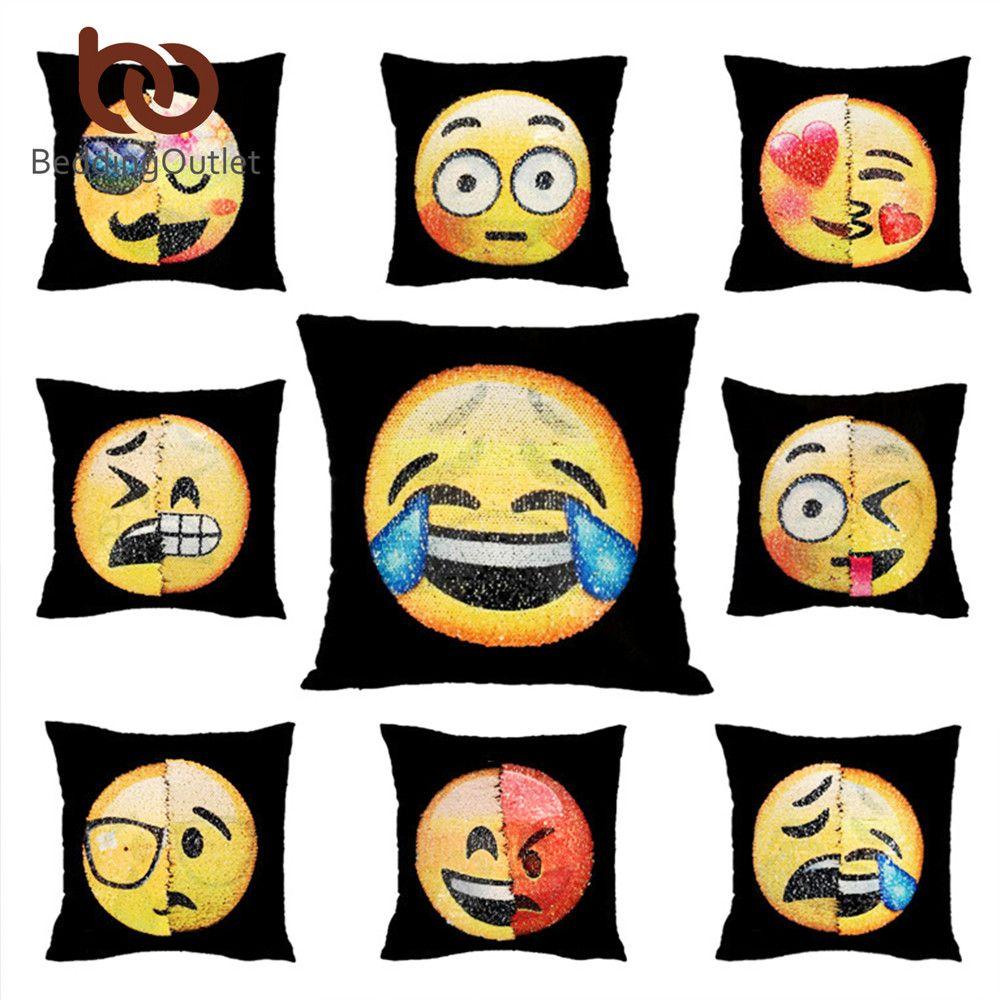 BeddingOutlet Emoji Cushion Cover Reversible DIY Sequin Mermaid Pillow Case Funny Changing Smiley Faces Decorative Pillowcase