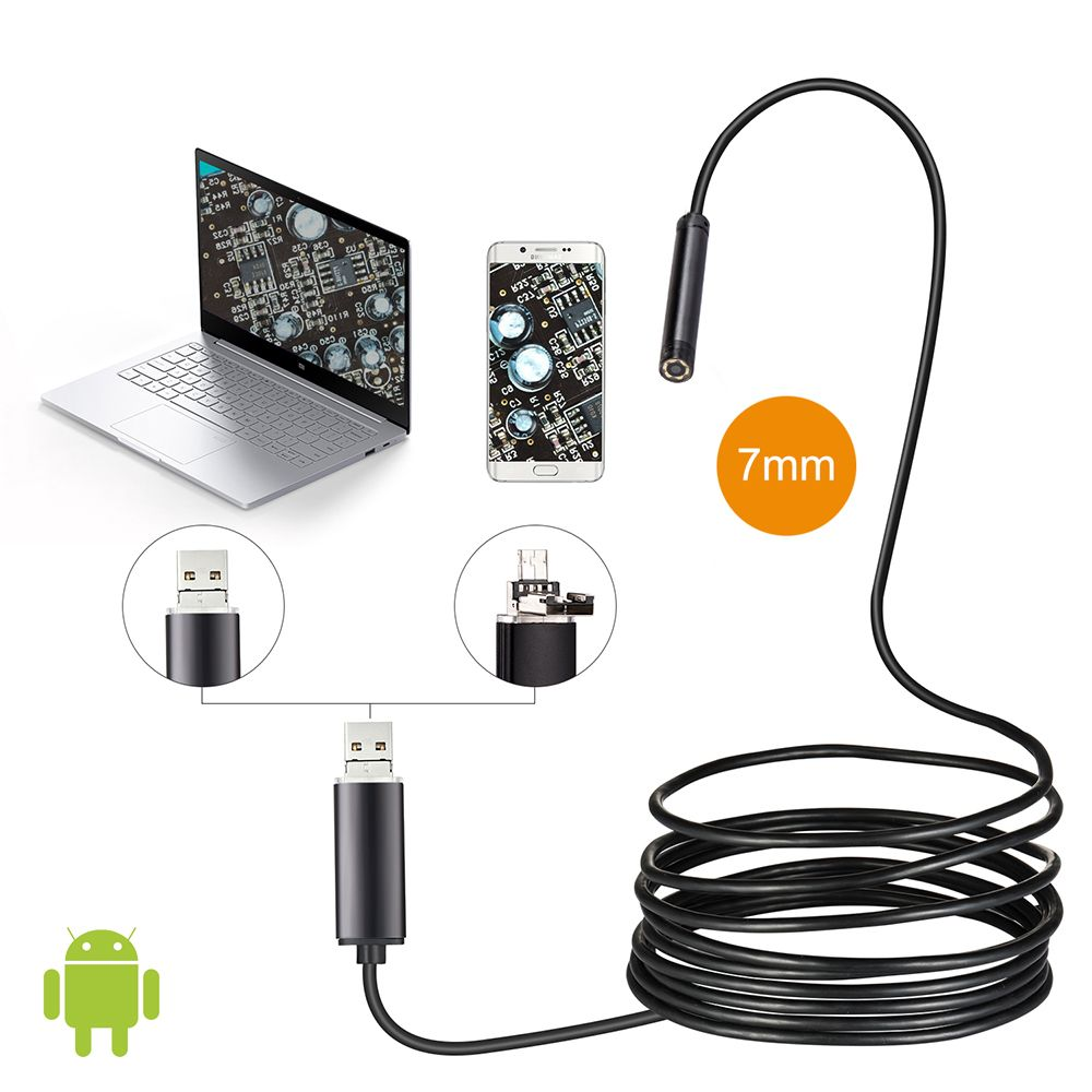 JCWHCAM 7mm Len 1 M Android OTG USB Endoscope Caméra Serpent Flexible USB Tuyau D'inspection Android Téléphone USB Endoscope caméra