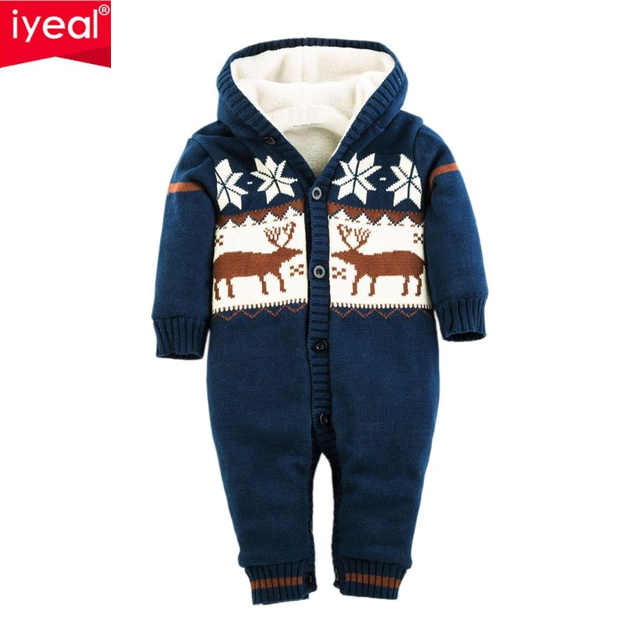 IYEAL Newborn Boys Girls Romper Thick Warm Cotton Knitted Sweater Christmas Deer Hooded Outwear Winter Kid Infant Jumpsuit