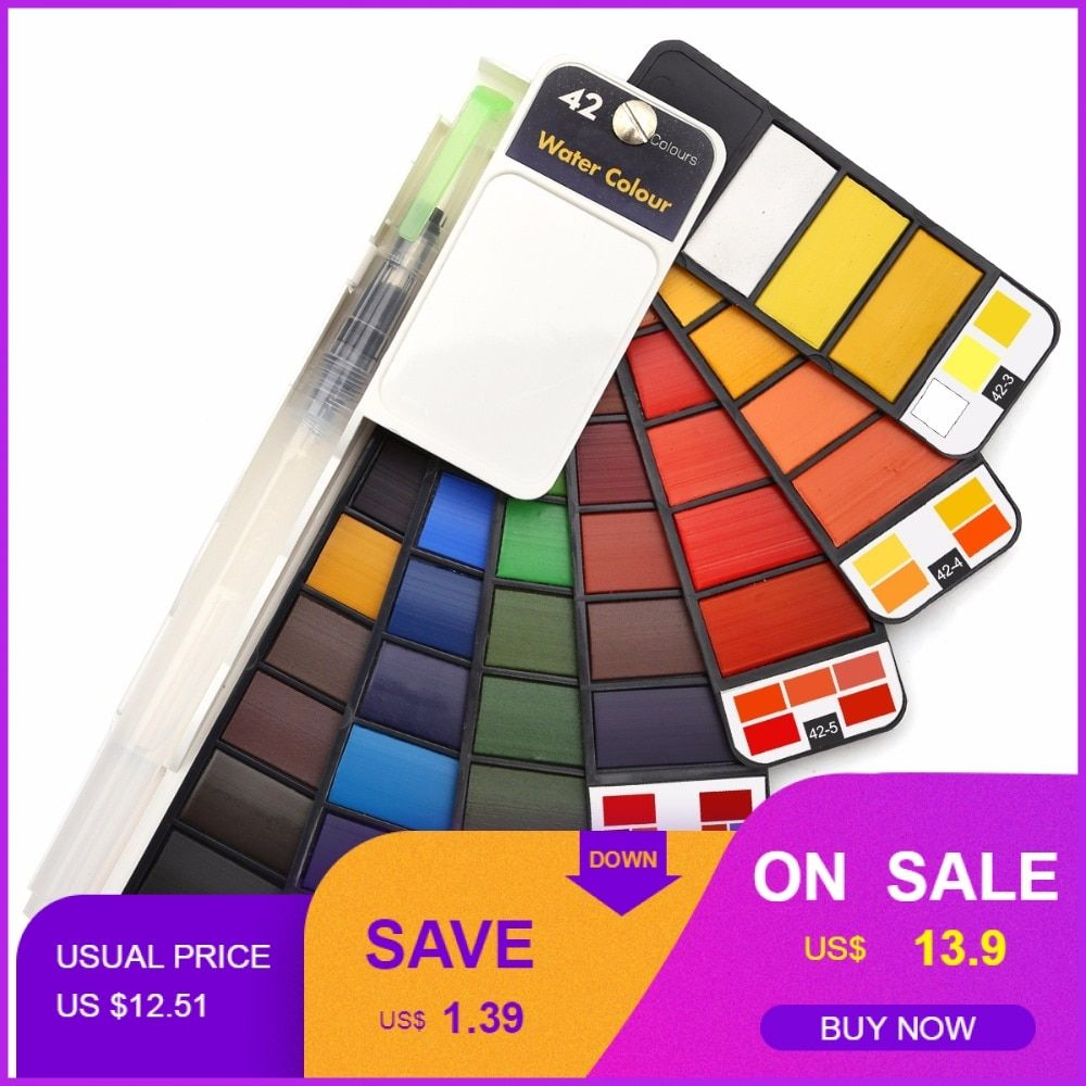 Dropshipping Promotion 18/25/33/42Colors Solid Watercolor Paint Set With Water Brush Pen Watercolor Pigment For Draw Art Supplie