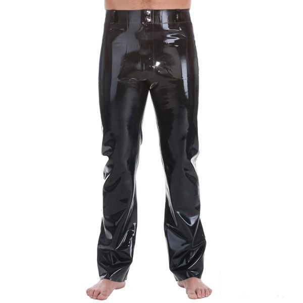 Latex Rubber Jeans With Front&Back Pocket Front Zipped Rubber Latex Trouseres For Men 0.4MM Thickness