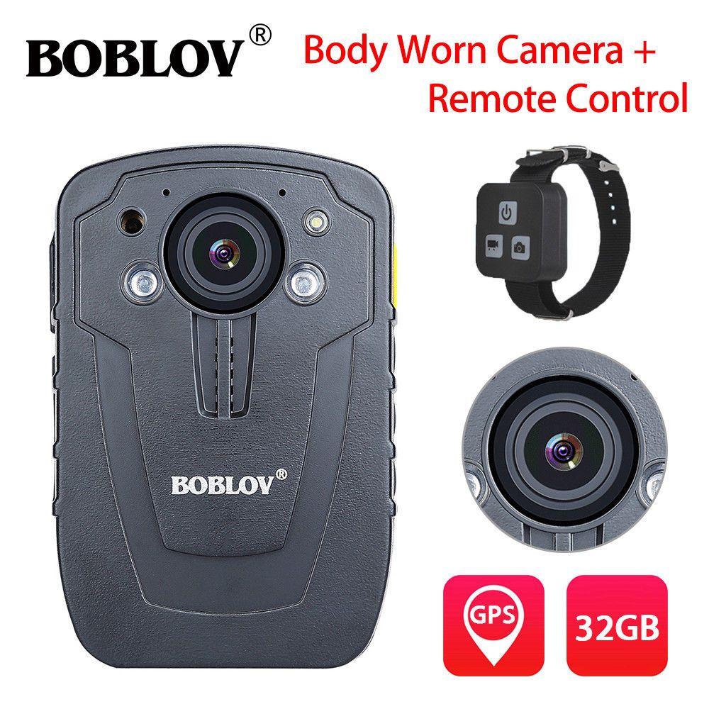 BOBLOV HD31-D 32GB Ambarella A7 Body Camera GPS Police Remote Control 33MP 10m Night Vision 1296P HD Video Camera Recorder IP66