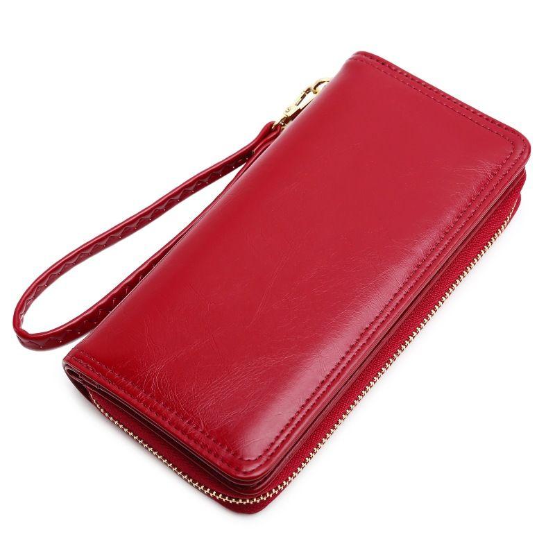 Nouveau portefeuille, cireux en cuir, femmes de petit frais, long-style changement de fermeture éclair clip