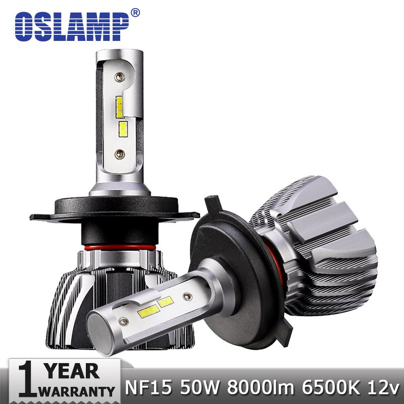 Oslamp H4 Hi-Lo Beam H7 H11 H1 H3 <font><b>9005</b></font> 9006 LED Car Headlight Bulbs 50W 8000lm CSP Chips 12v 24v Auto Headlamp Led Light Bulb