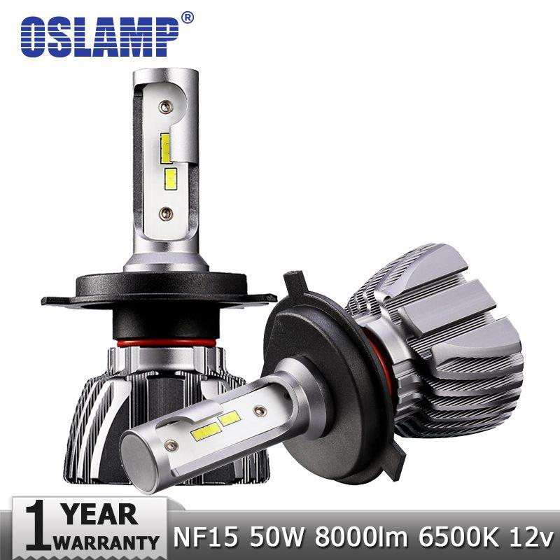 Oslamp H4 Hi-Lo Beam H7 H11 H1 H3 9005 9006 LED Car Headlight Bulbs 50W 8000lm CSP Chips 12v 24v Auto Headlamp Led Light Bulb