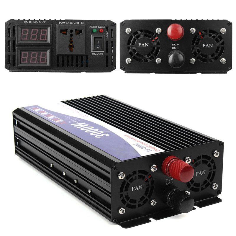 3000W Car Vehicle Power Inverter Pure Sine Wave 12V DC to 220V AC Transmitter Transformer Power Supply Inverter