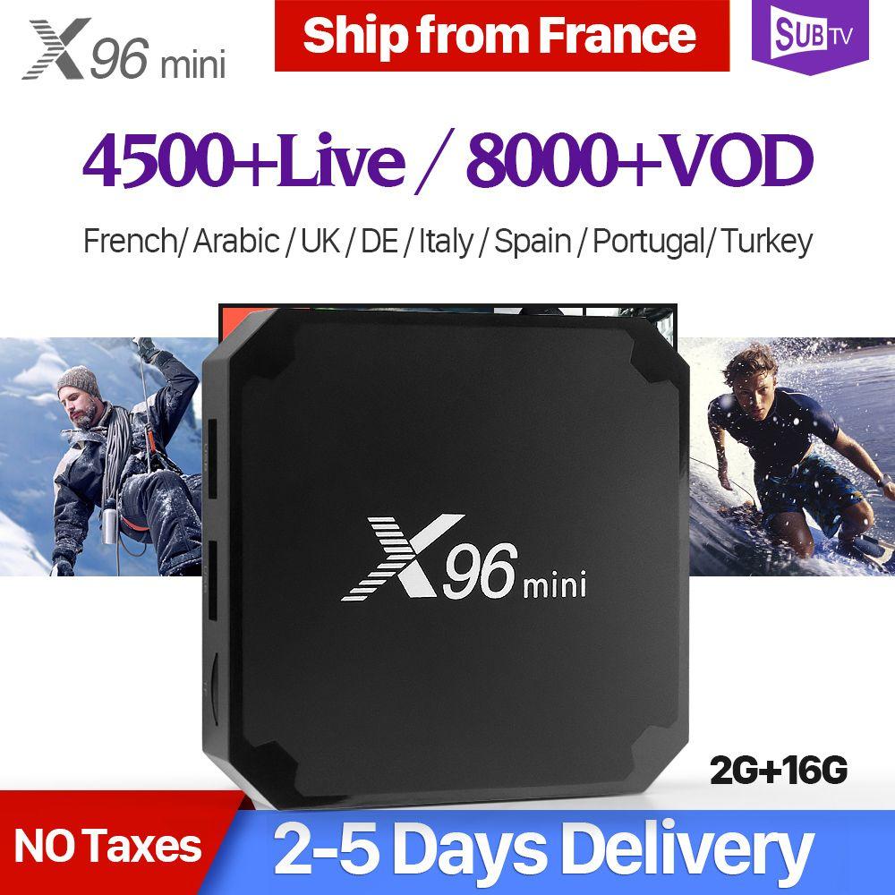X96 mini Smart France IPTV Box Android 7.1 2GB 16GB S905W 4K H.265 X96mini Set Top Box 1 Year SUBTV Arabic Belgium French IPTV