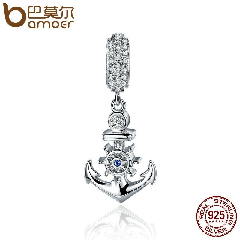 BAMOER High Quality 925 Sterling Silver Ocean Anchor Clear CZ Charm Pendant fit Women Charm Bracelet Necklace Jewelry SCC333