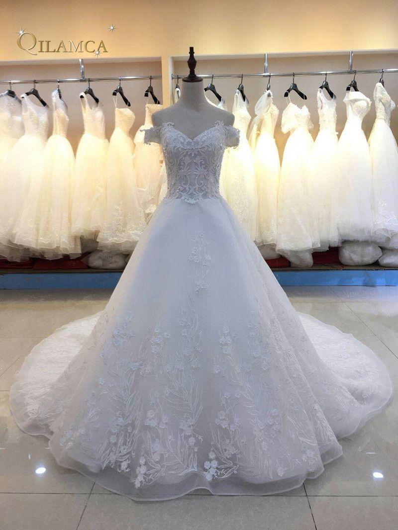Luxus Brautkleid Brautkleid Vintage Applique Spitze Hochzeitskleid 2018 Prinzessin mit Hülse Vestido De Noiva