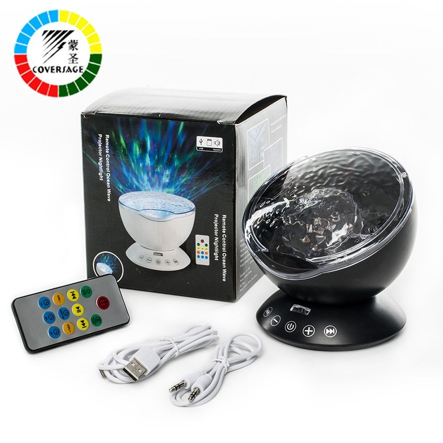 Coversage Ocean Wave Projecteur Télécommande TF Cartes Lecteur de Musique Haut-Parleur LED Nuit Lumière Aurora Maître Projection Enfants USB
