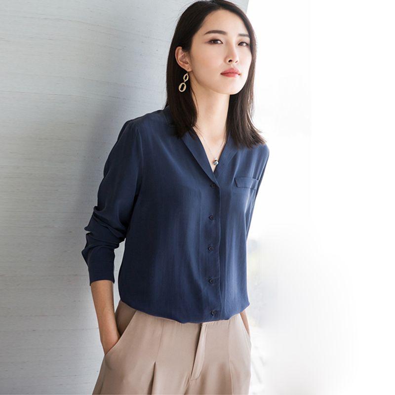 100% Silk Bluse Frauen Hemd Plus Größe Elegante Einfache Design Mit Langen Ärmeln Büroarbeit Top Graceful Stil Neue Mode 2017